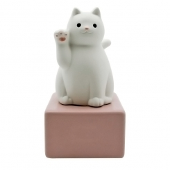 Sachi Lucky Cat Ceramic Diffuser Gift Set + 60 ml Fragrance (+ Wooden Coaster - Optional)