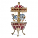 Carousel Embellished Metal Egg-Shaped Music Box