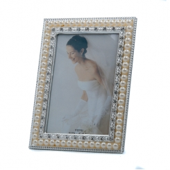 "4""x6"" Pearl & Rhinestone Trim Photo Frame"